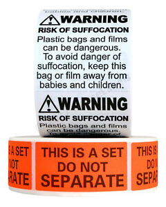 4x FBA Combo Pack (4x Suffocation Warning Labels And 4x Do Not Separate Labels)