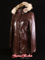 Ladies MOSCOW Brown FUR HOODED Parka Real Lambskin Leather Jacket Coat 9940
