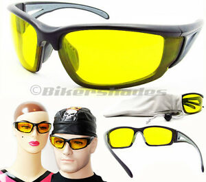 Night Vision Driving Yellow Lens Z87.1 Safety Glasses Polycarbonate Motorcycle
