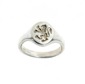 Lion Ring Men's Signet Gents Solid Sterling Silver Engagement Hallmarked P - Z+4