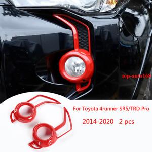Red ABS Front Fog Light Lamp Cover Trim For Toyota 4Runner SR5/TRD Pro 2014-2020