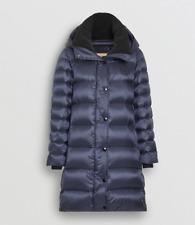 Burberry Women Strettingham Shearling Down Hooded Puffer Coat Sz Small Navy NWT!