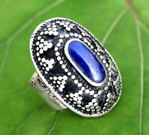 Vintage Handmade Lapis Lazuli Ring Kuchi Tribal Afghan Antique Jewelry Ethnic