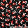 BonEful Fabric FQ Cotton Quilt Black Red B&W Dot Stripe Cat in the HAT Dr Seuss