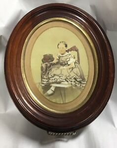 Wonderful early 19th C American school puffy sleeve watercolor of child *