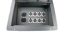 ELITE CORE RECESSED FLOOR BOX WITH 8 XLRF + DUPLEX AC W/ BLACK BOX AUDIO-STAGE