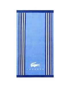 "Lacoste Oversized Beach Pool Bath Towel 100% Cotton 36""x72"" Blue"