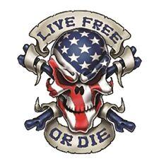 "Petit Sticker Tête de Mort US ""live free or die"" autocollant moto custom biker"
