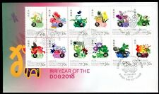 2018 Christmas Island Year of The Dog (Block of 12 Stamps) FDC