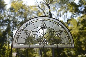 """34"""" x 18""""  Stunning Handcrafted All Clear stained glass Beveled window panel"""