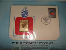 Canada FDC w/ 23 kt gold replica Stamp 1983 U N World Communications Year