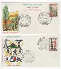 Madagascar  Tatanarive 2 FDC enveloppes timbres 1er jour 1960 /FDC111