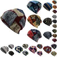 Unisex Women Men Print Scarf Beanie Cap Casaul Outdoor Convertible Windproof Hat