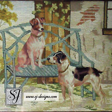 c1860s Berlin work needlepoint hunting dogs framed antique canvaswork tapestry