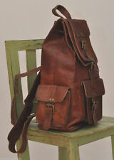 "16""Real genuine Leather Men's Backpack Satchel Brown Vintage laptop Rusksack Bag"