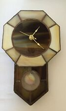 VINTAGE STAINED GLASS wall clock,