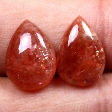 Beautiful 14x10 mm SUN STONE Pear 1 Pair Cabochon Gemstone 8.00 Cts Best Seller