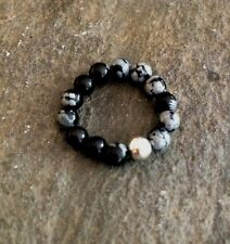 STERLING SILVER SNOWFLAKE OBSIDIAN RING STRETCH STACKING BEADED ROOT CHAKRA GIFT