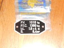 Peugeot utilitaire plaque de tare alu neuf origine d'epoque ref 754030