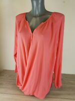 Ladies Waterfall Design Long Sleeve Button Fastening Top SALMON  XS / S B631-7