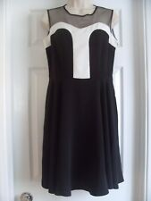 STUNNING BLACK & WHITE FLIPPLY DRESS *ASHLEY BROOKE* - SIZE 12 - NEW