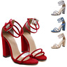 WOMENS BLOCK HEEL ANKLE STRAP SANDALS LADIES PEEP TOE  PARTY SHOES 3 : 9