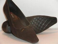 Women's ECCO Brown Suede Classic Pump w/Leather Bow & Trim  38/7 7-7 1/2 $120