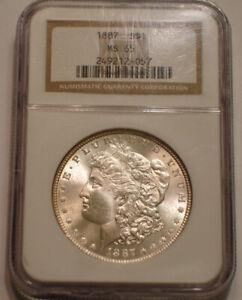 1887 P Morgan Silver Dollar NGC MS 65 beautiful Frosty GEM BU