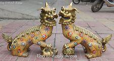 "16"" China Cloisonne Enamel Gilt Foo Fu Dogs Lion Lions Unicorn Beast Statue Pair"