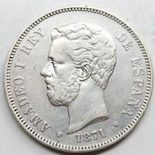 ESPAÑA AMADEO I 1871 *18-71 perfecta SDM 5 PESETAS MONEDA PLATA MBC+