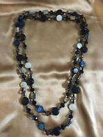 Long Blue Mother of Pearl & Glass Beads Necklace