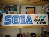 """Sega Game Gear Display, Aluminum Sign, 6"""" x 24""""."""