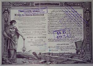 Türkiye Société Anonyme OTTOMANE Mines de Balia-Karïdin Action 100 Francs 1913