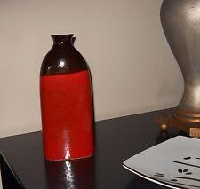 "Vase Ceramic 12"" Contemporary Art New Red Dark Brown Black"