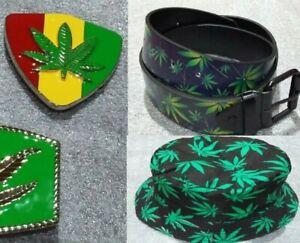 Rasta Ganja Marijuana Leaf Belt Buckle Metal Reggae Cannabis Bucket hat cap