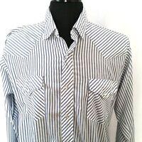 Ruddock Flying R Pearl Snap Shirt Western Blue White Stripe Vintage L or XL