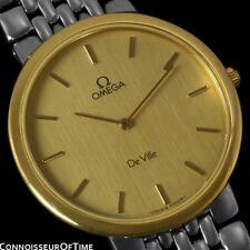OMEGA DeVille Mens Midsize 18K Gold Plated & SS Steel Watch - Minty w/ Warranty