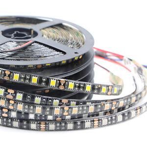 Black PCB 5050 SMD RGB Waterproof LED Flexible Strip Light 60led/m tape lamp 12V