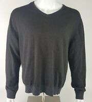 J Ferrar Mens Size XL Dark Gray Blue Long Sleeve Stripe Cotton Blend Shirt