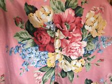 Pink Floral Linen Buttoned Twin Duvet Cover Euc