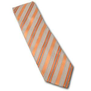 "Ermenegildo Zegna Orange / Silver WOven Striped Silk Tie 3 5/8"" italy"