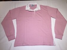 Front Row Womens Ladies Rugby Shirt for Leisure Plain Traditional Cotton Dusky Pink S