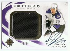 10/11 UD ULTIMATE COLLECTION DEBUT THREADS AUTOGRAPH JERSEY Kyle Clifford #38/50