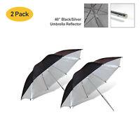 [2 PACKs] Silver Photography & Video Reflector Umbrella Photo Video Studio New