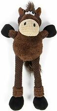 1 - goDog Skinny Thin Brown Horse Durable Plush Dog Toy Large 1 pack Tough