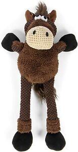 1 - goDog Skinny Thin Brown Horse Durable Plush Dog Toy Large 1 pack Tough