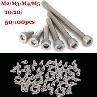10/20/50/100x M2 M3 M4 M5 Stainless Steel Hex Bolt Socket Cap Screws Head DIN912
