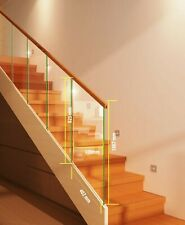 Toughened Glass Stair Panels - Rake and Landing Slotted Handrails