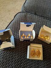 Lot of (4) Avon Pierced Earrings Gold/Silver 1987/2002