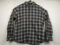 Mens Converse Large Blue Plaid Cotton Long Sleeve Button Front Flannel Shirt